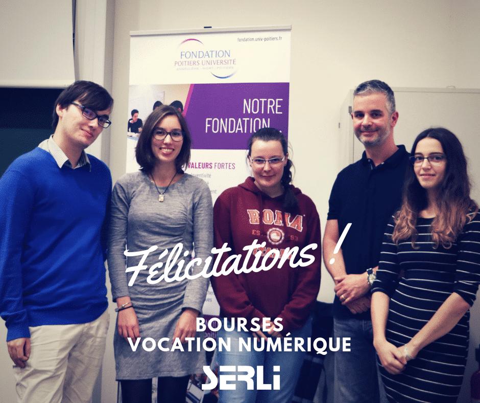 Les 4 étudiants qui ont reçu leurs bourses d'études des mains de Jérôme Petit, Président de Serli